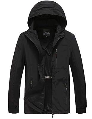 Men's Hooded Lightweight Windbreaker Jacket Softshell (1.Black, XXL)