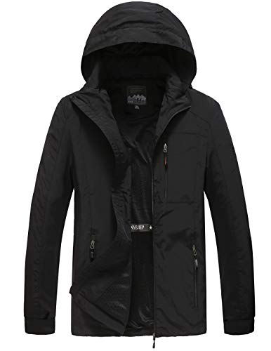 Mens Hooded Lightweight Windbreaker Black Jacket