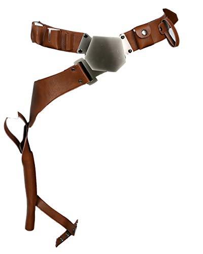 Mesky Cosplay Gürtel mit Pistolenholster aus PU Leder Braun Deluxe Beinholster Kostüm Zubehör Verstellbar Gürtelholster aus Star War für Karneval und Fasching
