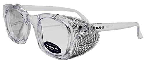 Titus Retro Style Safety Glasses with Side Shield (W/ Pouch + Wipe, Transparent Frame / Clear Lens)