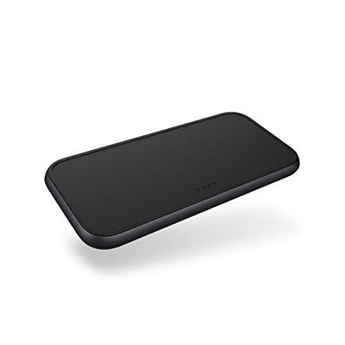 ZENS Qi certificado 2x15W Dual Aluminium Wireless Charger con 5 bobinas de inducción para la colocación libre de sus dispositivos (Puerto USB-A adicional, Fuente de alimentación USB-C de 45W incluida)