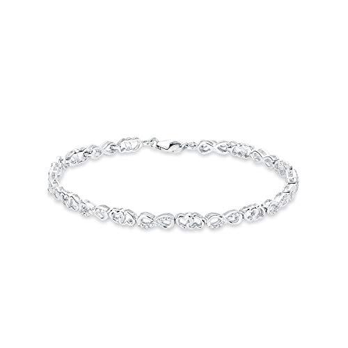amor Armband für Damen 21 cm Infinity Herzen 925 Silber rhodiniert Zirkonia weiß