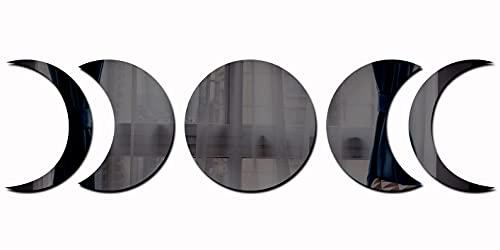 XiXiRan 5 Specchietti Decorativi da Parete, Removibile Acrilico Specchio, Boho Adesivo Parete Specchio Autoadesivi, Fasi Lunari Specchio da Parete, Decorazione Adesivi per Soggiorno Camera da Letto