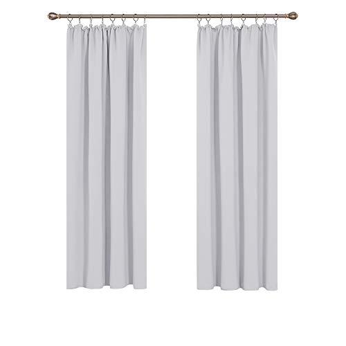 Deconovo Thermovorhang Vorhänge Gardinen mit Kräuselband Blickdicht Lärmschutz 175x140 cm Grau Weiß 2er Set