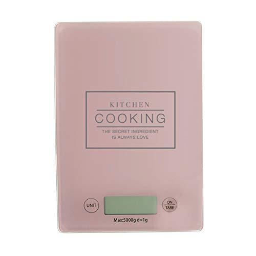 Báscula de Cocina Digital de 22 cm, Color Rosa, Cristal