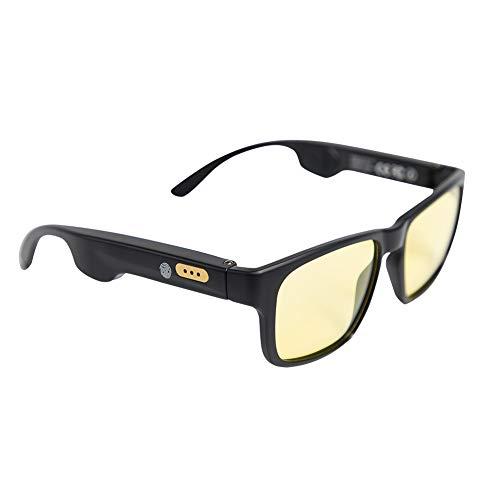 Occhiali a conduzione ossea Wireless Bluetooth Occhiali da sole intelligenti sensibili al tatto con chiamata vocale, occhiali da vista impermeabili polarizzati anti-UV per iOS Android (Yellow)