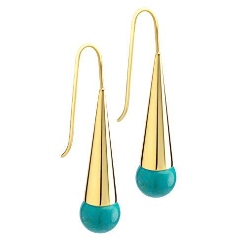 555Jewelry Stainless Steel Dangling Drop Turquoise Earrings for Women, Long Boho Dangly Cone Turquoise Earrings, Fashion Turquoise Dangle Earrings for Women & Girls, Gold