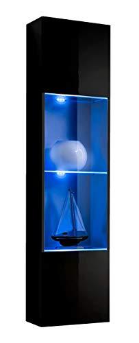 muebles bonitos Vetrinetta sospesa Modello Aprilia Nero con LED - Larghezza: 40cm x Altezza: 170cm x profondità: 29 cm Lettiemobili Soggiorno