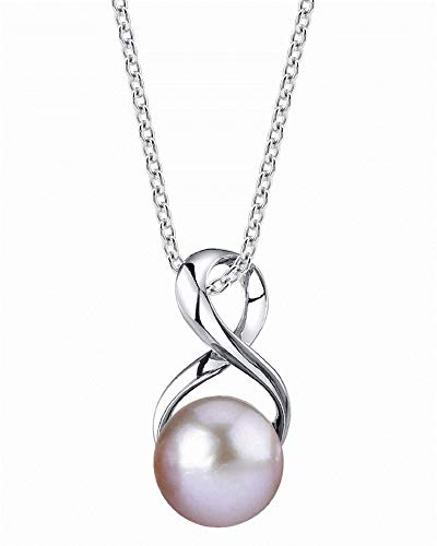 The Pearl Source 9-10mm Genuine Pink Freshwater Cultured Pearl Infinity Pendant Necklace for Women