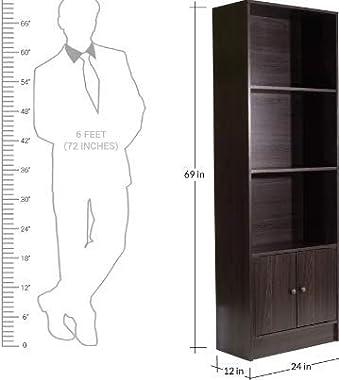 Shilpi Hand Caved Indian Premium Teak Board 3 Tier Book Shelf with Bottom Cabinet Double Door
