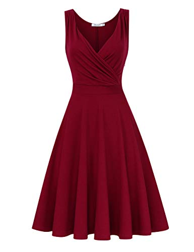 KOJOOIN Damen Vintage Abendkleid Retro Cocktailkleid Knielang Rockabilly Kleid Weinrot 【EU 38-40】/M
