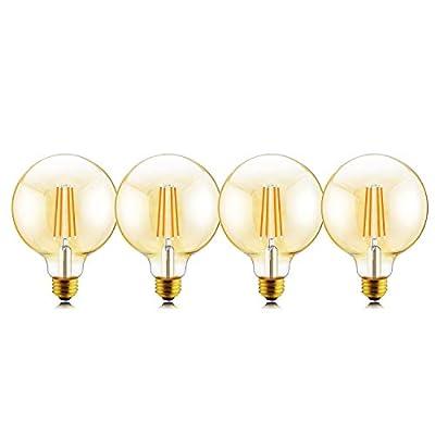 Helloify G25 Light 60W Equivalent Dimmable 5.5W G25(G80) Decorative Globe Vintage LED Edison Filament Bulbs 500 lumens, Soft White 2500K, Amber Glass, E26 Screw Base, Pack of 4, G25