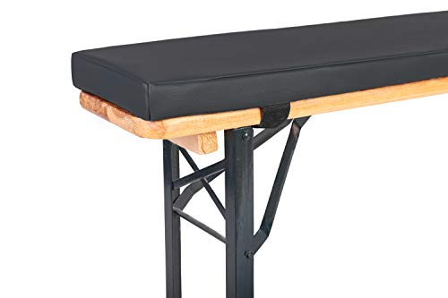 TexDeko Bierbank-Auflage (Einzeln) mit Kunstlederbezug - Polsterung EXTRA ↨ für Bierzeltgarnitur (4cm Polsterhöhe, Anthrazit)