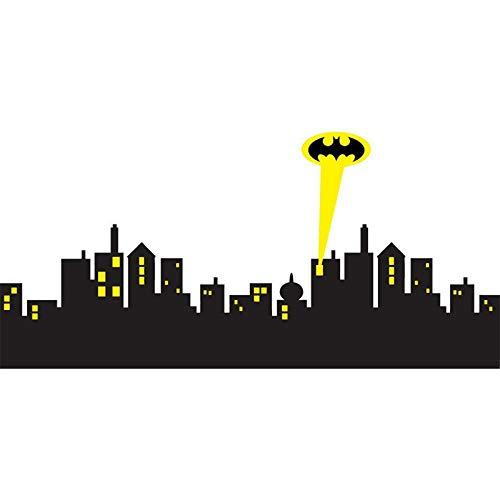 GOTHAM CITY SKYLINE Edificio Siluetas Película Bat Superhéroe hombre Spotlight Logo DIY Etiqueta de la pared Vinilo Calcomanía Niños Dormitorio Sala de estar Decoración para el hogar Mural