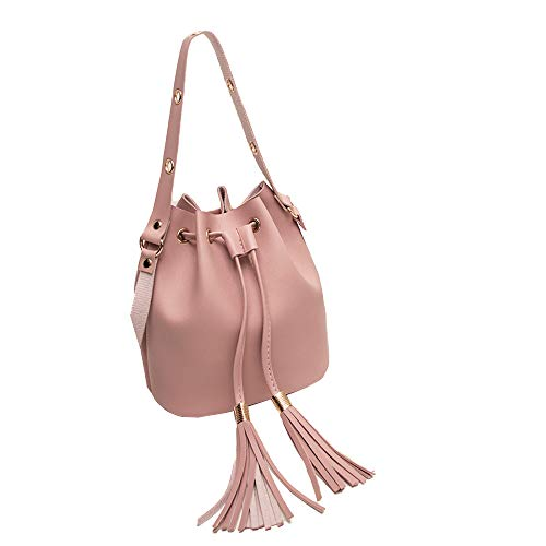 Tassel Bucket Bag for Women, 2019 Hot Faux Leather Crossbody Bag Mini Satchel Drawstring Bag with Adjustable Strap
