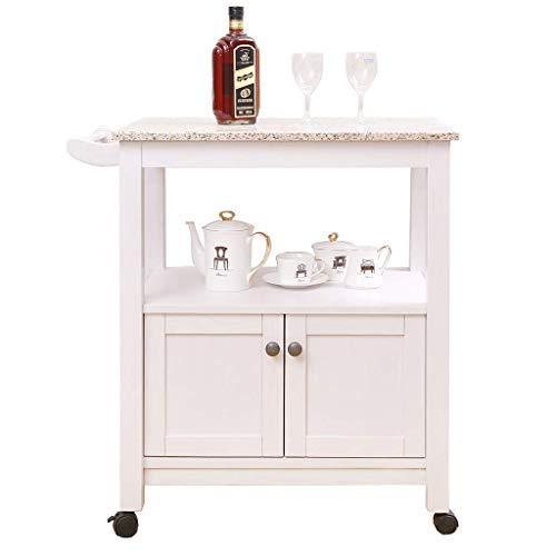 LQUIDE - Carro de almacenamiento de té con estantes de soporte para carrito de vino, superficie de mármol de madera maciza, 69 x 4 x 80 cm
