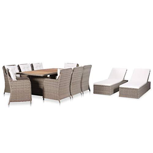 vidaXL Gartenmöbel Set 11-TLG. Gartengarnitur Sitzgruppe Gartenset Sitzgarnitur Esstisch Gartentisch Stühle Sonnenliege Poly Rattan