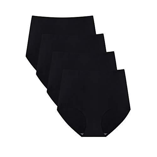 No Show High Waist Briefs Underwear for Women Seamless Panties,Pack of 4 (Black4, L)