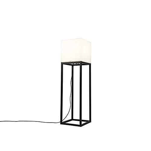 QAZQA - Design Außen Stehlampe schwarz IP44 mit weißem Schattenquadrat - Virginia | Wohnzimmer - Stahl Rechteckig - LED geeignet E27