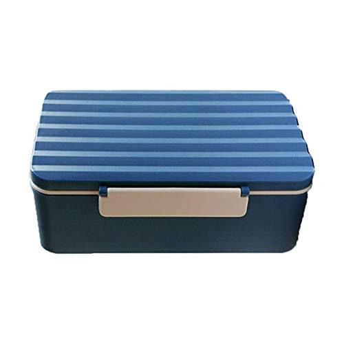 XIAOGEGE Caja de almuerzo para adultos Bento para niños, caja de desayuno, plástico, a prueba de fugas, incluye vajilla, color azul