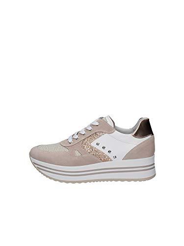 scarpe rosa antico Nero Giardini E115194D Velour Femme Licia Rosa Antico Sneakers Donna Zeppa Alta Glitter Nabuk (Taglia 37)