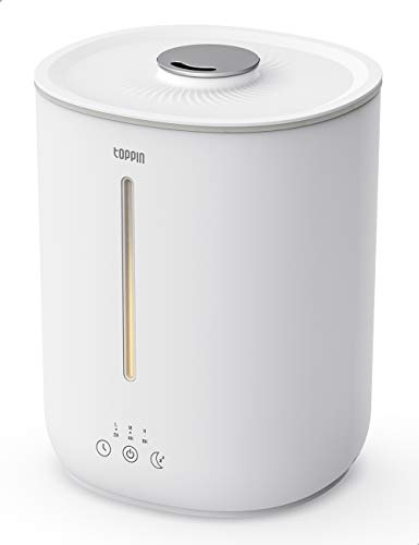Humidifiers for Bedroom, TOPPIN Cool Mist Humidifiers for Bedroom Easy Clean Quiet Ultrasonic Humidifiers with 2.8L Tank 24 Hours Auto Shut Off Silent Sleep Cozy Night Light Perfect for Bedroom Baby Room