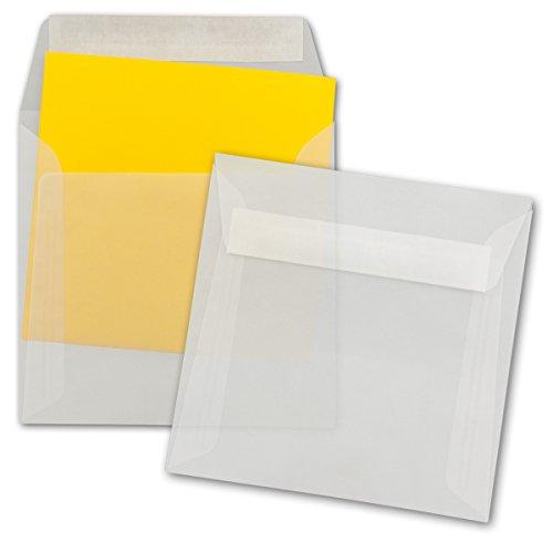 50 Stück - Briefumschläge Transparent Quadratisch - Transparent - Umschläge Durchsichtig - Haftklebend (selbstklebend) - 16 x 16 cm - Kuvert für Grußkarten, Weihnachten, Karten