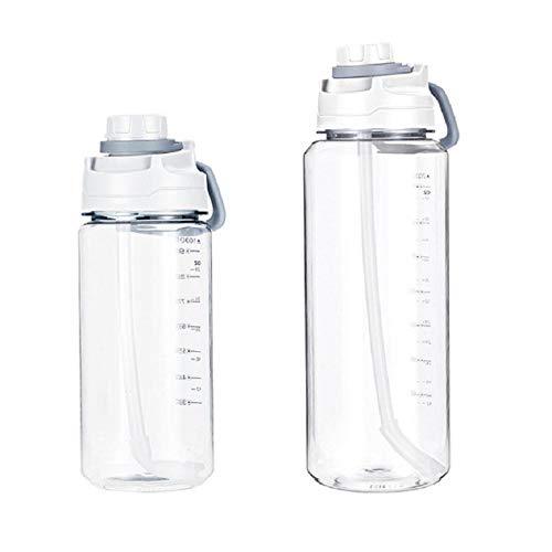 Taza De Agua De Plástico Con Escala Botella De Agua Portátil De 2L Para Mujer De Gran Capacidad Taza Con Espacio De Paja Botella Para Deportes Al Aire Libre-blanco_2000ml