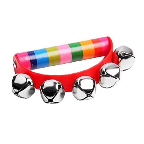 NaiCasy Golpes pandereta Campanilla de Instrumentos Musicales de percusión Que sacuden Las Herramientas de Juguete Pequeño Jingle Bell Cabrito del bebé de la Primera Infancia Educación Color al Azar