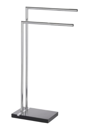 WENKO Handtuchständer Noble mit 2 Armen - Kleiderständer, Stahl, 45,5 x 82 x 20 cm, chrom/schwarz