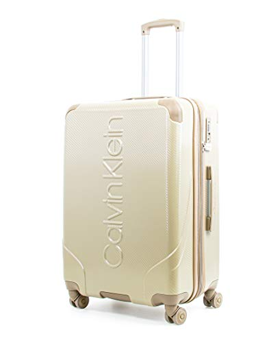 Calvin Klein Obsessed Hardside Spinner Luggage with TSA Lock, Tan, 24 Inch
