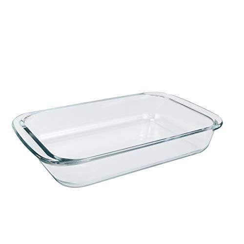 NUTRIUPS Auflaufform Rechteckig Glas, Klare Glasauflaufform, Lasagneform, Auflaufform Glas, Auflaufformen aus Borosilikatglas, Glas Backform Rechteckig, Glasbräter mit Griffe für Lasagne, Fleisch, 2L