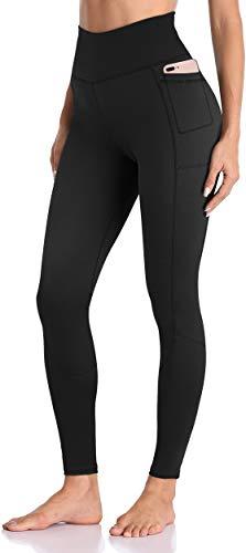 Enmain Pantaloni da yoga neri a vita alta da donna con tasca da palestra Leggings da corsa Leggings per il