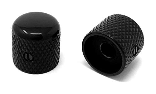 Vintage Forge Black Metal Dome Knobs for Electric Guitar and Bass (Set of 2) 6mm Shaft with Set Screw DK50M-BLK