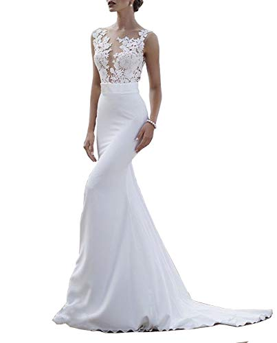 Sweet Bridal Women's Lace Appliques Mermaid Sweep Train Long Bridal Gown 10 A-white