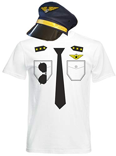 aprom T-shirt pilot kostuum look -voegencapaciteit carnaval met hoed kaki PIL