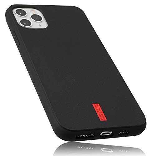 mumbi Hülle kompatibel mit iPhone 11 Handy Case Handyhülle, schwarz mit rotem Streifen