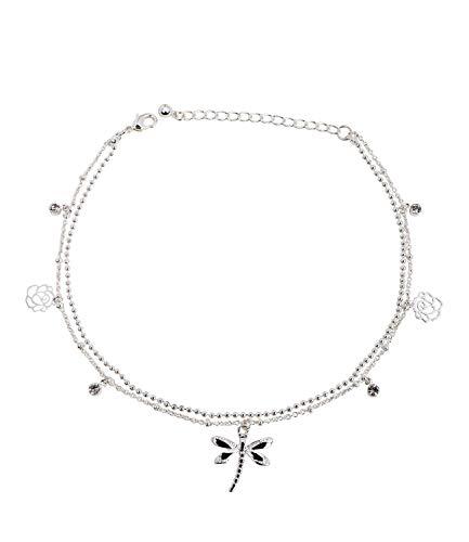 SIX Filigranes Damen Fußkettchen in Silber mit zarten Anhängern in Form von funkelnden Strasssteinen sowie Libellen und Blüten (775-325)