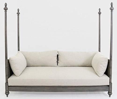 Casa Padrino sofá Cama de Lujo Gris/Crema 219 x 110 x A. 200 cm - Elegante sofá de Madera Maciza - Muebles de salón - Calidad de Lujo