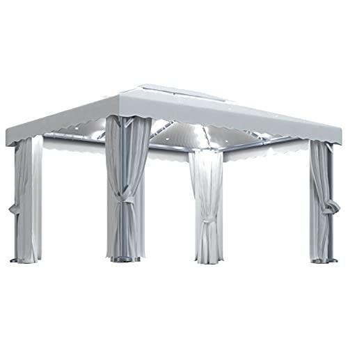 vidaXL Cenador con Cortina y Tira de Luces Lateral Pérgola Jardín Patio Toldo Sombrilla Parasol Tienda Carpa Marquesina Aluminio Crema 4x3 m