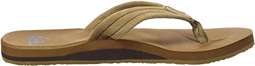 Quiksilver Men's Carver Suede 3 Point Flip Flop Sandal Athletic, Tan/Solid, 9 M US