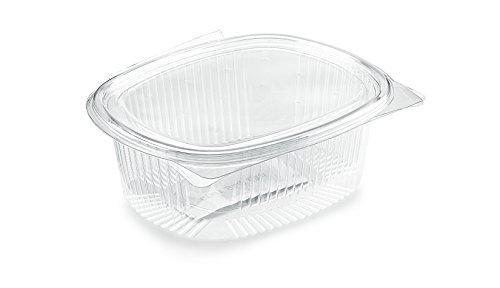 Vaschette ovali in PET - cc 1000 - Scatola da 50 pz vaschette trasparenti usa e getta con coperchio unito - Contenitori monouso di plastica con chiusura incernierata ed ermetica