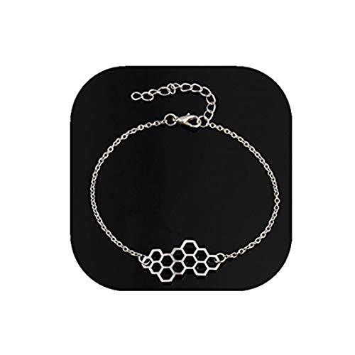 yichahu Pulsera plateada simple geometría miel celular pulseras panal de abejas pulsera mujer joyería de moda niña fiesta regalos