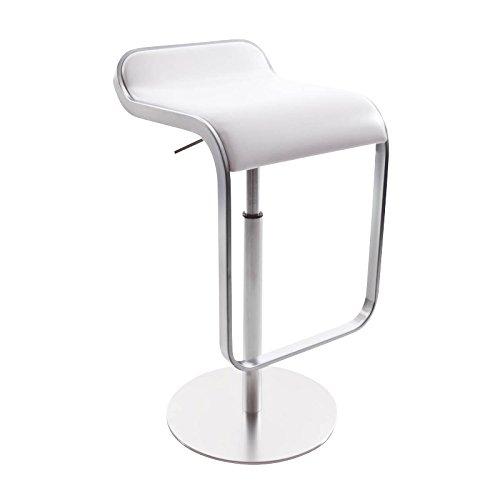 lapalma Lem S79 55-67 Barhocker Gestell matt verchromt, weiß Sitzschale Leder gepolstert H 63-75cm Sitzhöhe 55-67cm T 42cm Säule sandgestrahlt Fuß Leinenstruktur Ø37cm