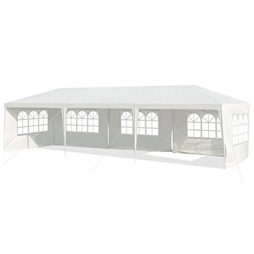 COSTWAY 3x9M Garden Gazebo with 5 Side Panels, Outdoor Waterproof Camping Marquee Tent Wedding Party Events Canopy Shelter (White)