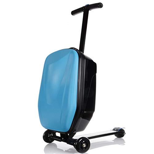 ZhanPing 21 Zoll Pasword Lock Scooter Gepäck Aluminium Koffer mit Rädern Skateboard Rollgepäck Reise Trolley Trolley (Farbe : Blue, Luggage Size : 20