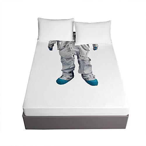 Bedding Sábana Bajera Ajustable, Treer Bolsillo Profundo de 30cm Microfibra Suave con Esquinas Elasticidad y Antiarrugas Protector de Colchón (Astronauta,180x200x30cm)