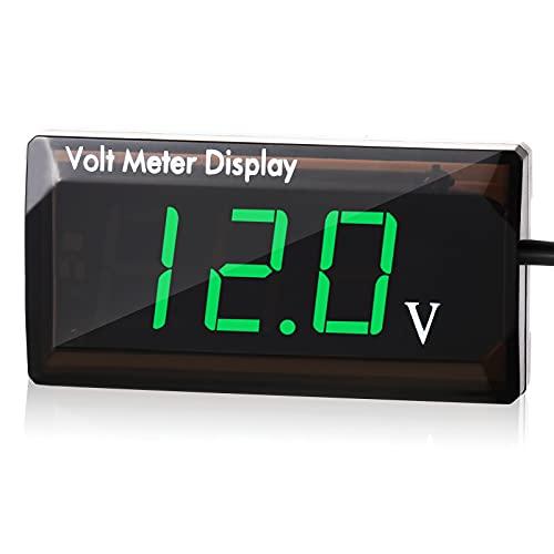 DC 12V Voltímetro Digital de Coche Medidor de Voltaje de Pantalla LED Panel Medidor de Voltaje Digital de Automóvil 12V Medidor Voltímetro para Vehículo Motocicleta Camión ATV SUV (Verde)
