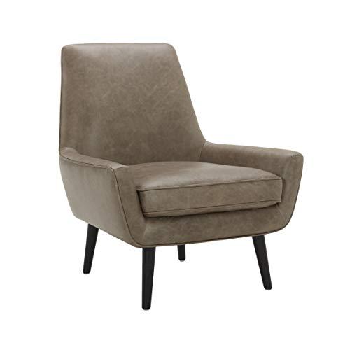 "Amazon Brand – Rivet Jamie Leather Mid-Century Modern Low Arm Accent Chair, 31""W, Grey"