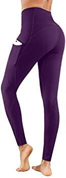 Lingswallow High Waist Yoga Pants - Yoga Pants with Pockets Tummy Control 4 Ways Stretch Workout Running Yoga Leggings  Purple Small